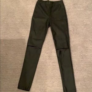 Faux leather leggings with slits in knees